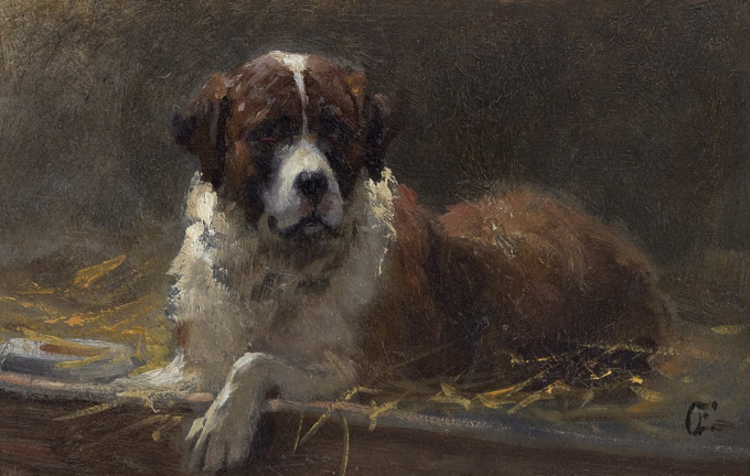 A Saint Bernard dog by Otto Eerelman
