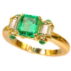 Estate engagement ring with top emerald and diamonds by Unknown Artist