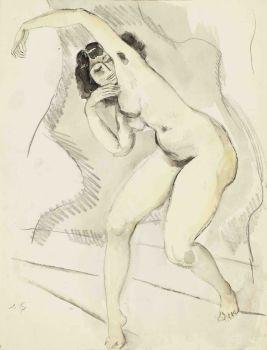 Nude with black hair by Jan Sluijters