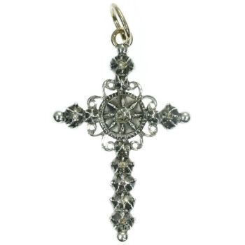 Dutch antique silver and gold cross with rose cut diamonds by Unknown Artist