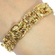 Victorian Art Nouveau antique gold bracelet griffins animalistic mythological by Unknown Artist