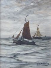 Bomschuiten at Sea by Hendrik Willem Mesdag