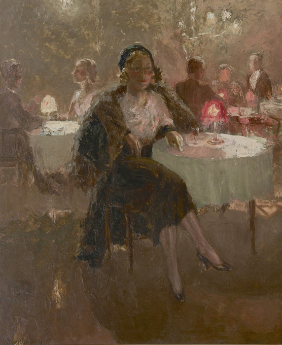 The actress Clara Vischer-Blaaser in a tea room by Han van Meegeren