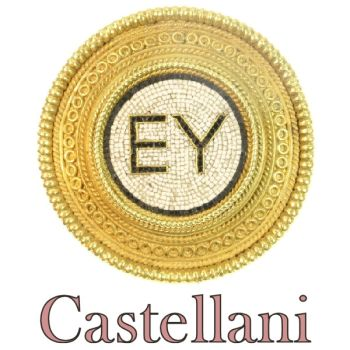 Micro mosaic gold brooch with filigrain by Castellani by Castellani