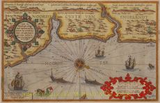 This chart shows the Yorkshire, Durham and Northumberland coastlines from Robin Hood's Bay to Coquet Island by Doetecum, Ioannes van