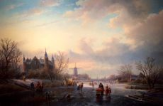 Winter landscape with ice skaters -left castle by Jan Jacob Spohler