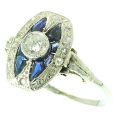 Engagement ring Art Deco sapphire and diamonds by Unknown Artist