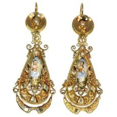 Gold Biedermeier earrings long pendant Victorian earrings with enamel by Unknown Artist
