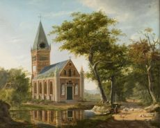 Garden near Leiden, Holland, 1828 by J. G. Casteelen