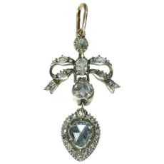 Antique Georgian era love pendant with big rose cut diamond by Unknown Artist
