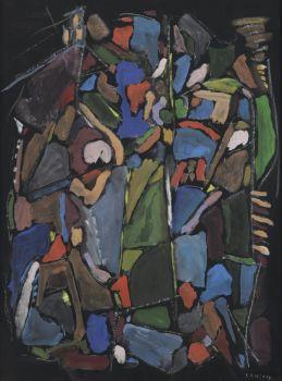 Composition Abstraite (sur fond noir) by André Lanskoy