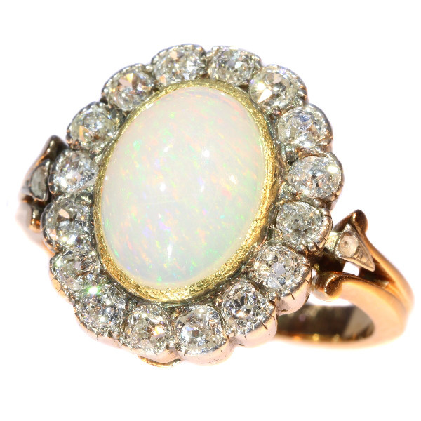 Antique Victorian opal and diamond ring multifunctional as necklace clasp by Unknown