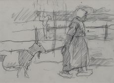 Farmer with goat by Suze Bisschop-Robertson