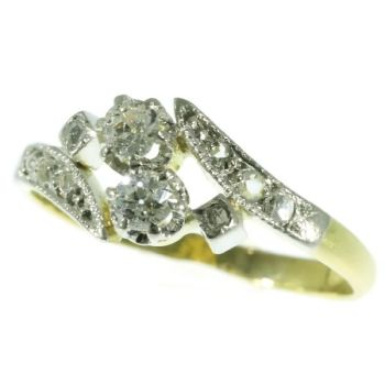 Original Vintage love ring what the French call a toi et moi - you and me by Unknown Artist