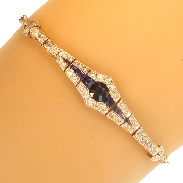 Belle Epoque gold and platinum bracelet with diamonds and sapphires by Unknown Artist
