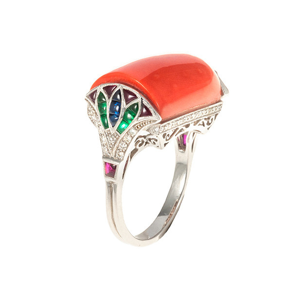 Egyptian style ring with precious coral by Unknown Artist