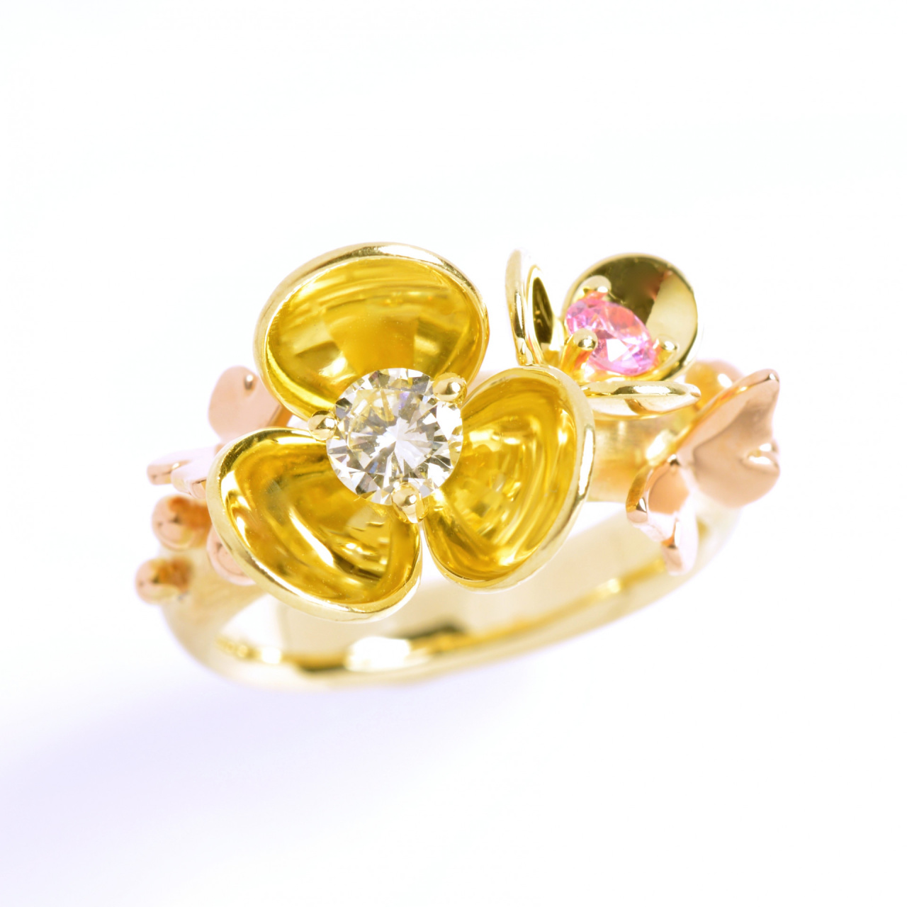 Flower Ring Yellow And Red Gold With Diamond And Pink Sapphire
