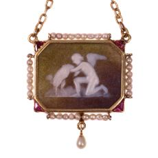 Antique stone cameo pendant on gold chain with mythological motive by Unknown