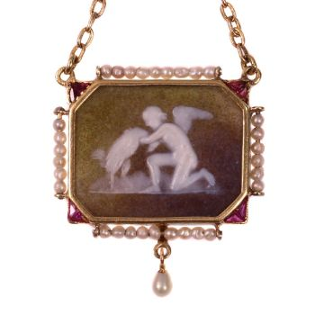 Antique stone cameo pendant on gold chain with mythological motive by Unknown Artist