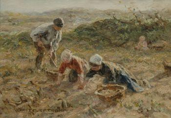Digging up potatoes in the dunes near Katwijk by Jan Zoetelief Tromp