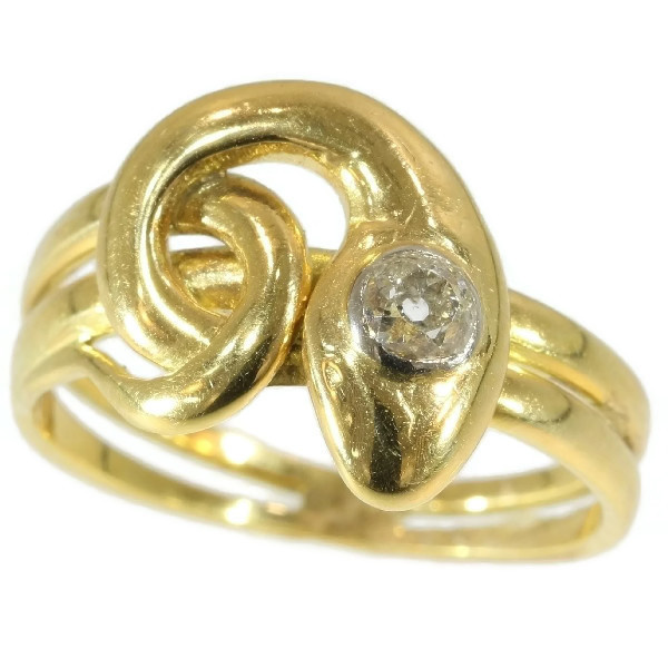 Antique diamond head snake ring 18kt yellow gold by Unknown