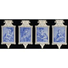 A rare and fine set of four Dutch Delft plaques representing the Four Seasons