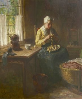 Peeling potatoes by Bernard de Hoog