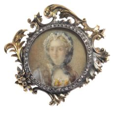 French Victorian brooch painted miniature of Madame de Pompadour in diamond mounted gold frame by Unknown