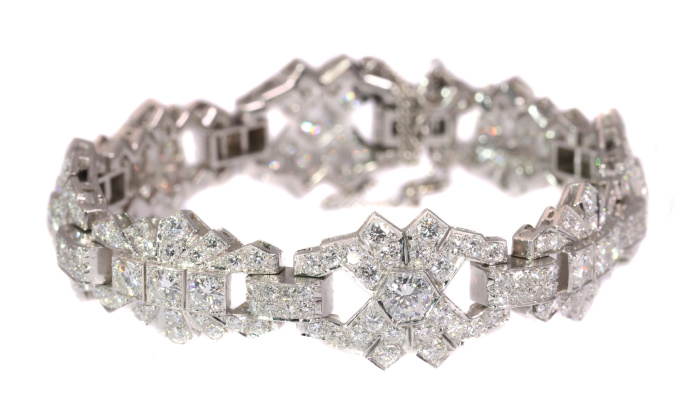 Vintage platinum diamond bracelet Art Deco style made in the Fifties by Unknown