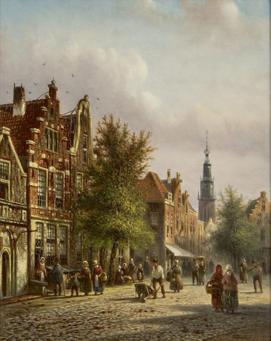 A Dutch city view by Johannes Franciscus Spohler