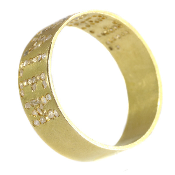 Antique Late Victorian gold band with the name Jerusalem written in diamonds by Unknown