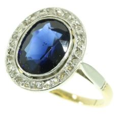 Art Deco diamond and sapphire engagement ring  Lady Di style by Unknown Artist