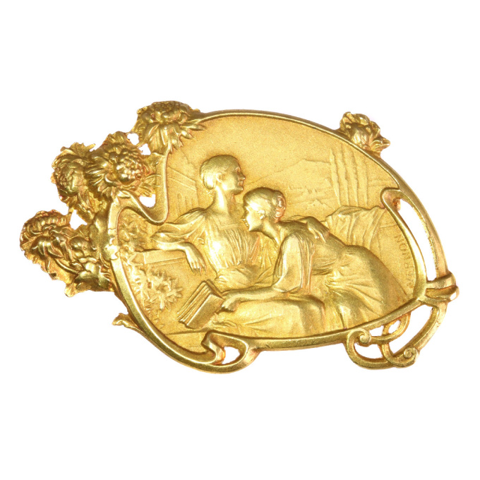 Art Nouveau brooch signed Vernon depicting friendship between two women by Unknown Artist