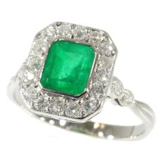 Most charming Art Deco platinum diamond engagement ring with Brasilian emerald by Unknown Artist