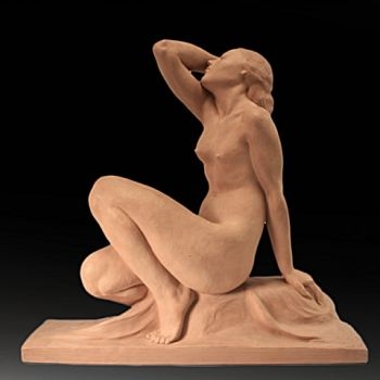 'NU FÉMININ' AN ART DECO sculpture  by Jean Ortiz
