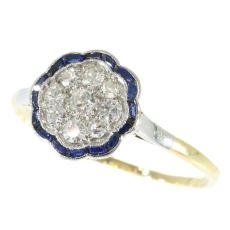 Subtle Vintage Art Deco Diamond And Sapphires Engagement Ring by Unknown Artist