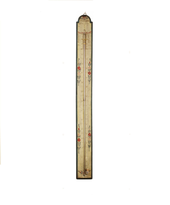 A French polychrome painted stick barometer, circa 1800 by Unknown Artist