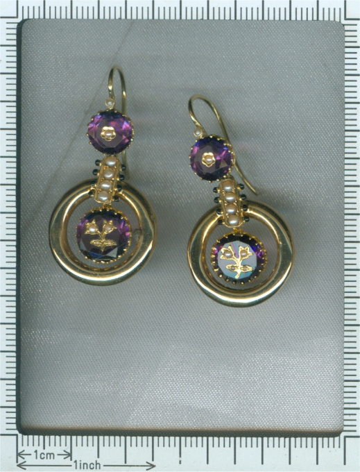 Antique pendent earrings Victorian with enamel engraved amethyst and seed pearls by Unknown Artist