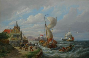 The arrival of the ferry by Pieter Cornelis Dommershuijzen