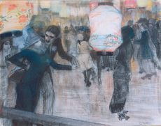 A roller skating rink with Japanese lanterns by Leo Gestel