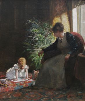 Mother and playing child by Jozef Hoevenaar