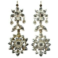 Antique long pendant earrings with rose cut diamond by Unknown Artist