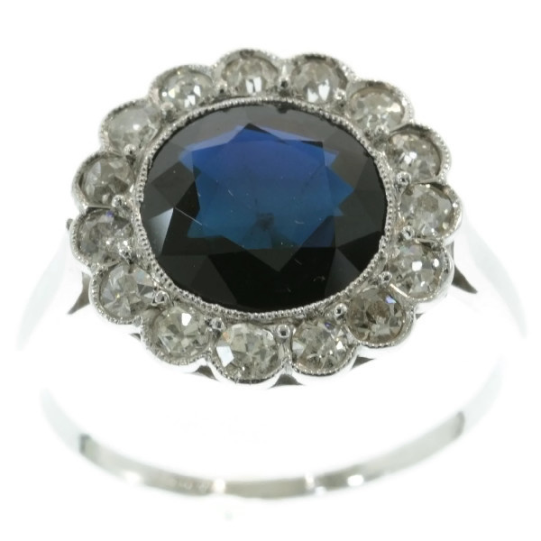 Platinum art deco diamond sapphire engagement ring by Unknown
