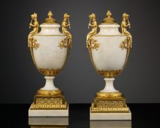 Pair of Richly Decorated French Louis XVI Vases