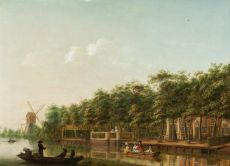 The river Vecht with elegant company in a rowing boat by Isaac Ouwater