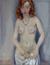 Standing nude with veil, Dutch