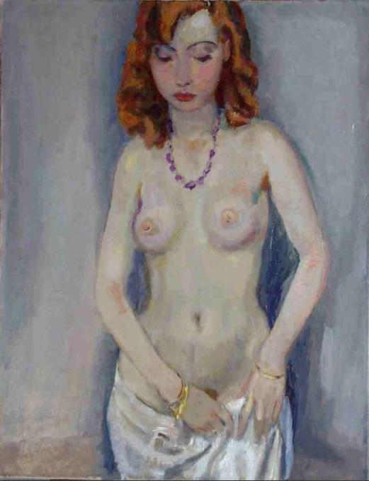 Standing nude with veil, Dutch by Jan Sluijters