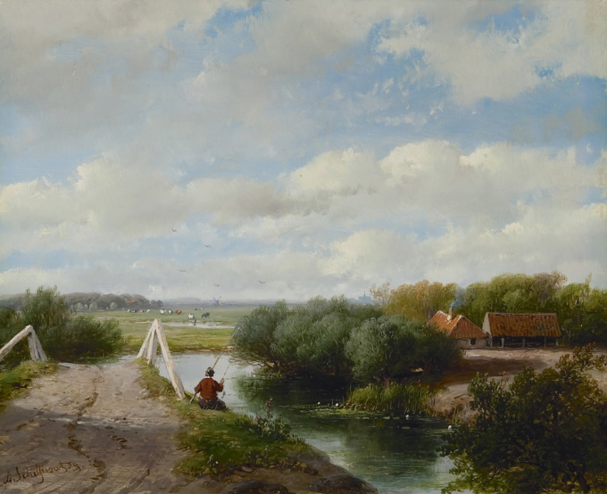 A summer landscape with an angler near Haarlem by Andreas Schelfhout