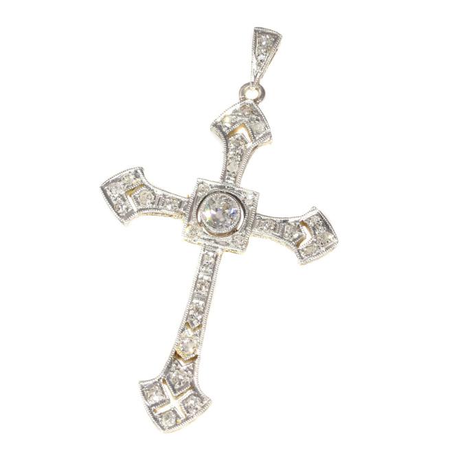 Art Deco diamond cross pendant by Unknown Artist