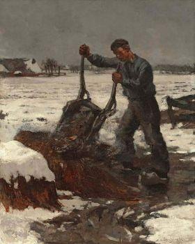 Boer met kruiwagen by Frans Langeveld